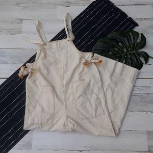 Madewell| Tassel Tie Overalls Wide Leg Cream NWT